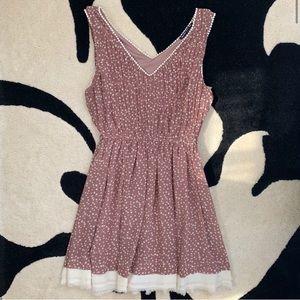 ModCloth Pink & Cream Polkadot Mini Dress